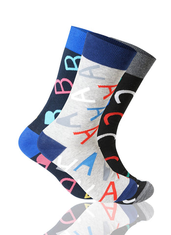 ABC 3 Pack Novelty Socks