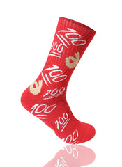 RED 100 Emoji Crew Socks - URBANCREWS