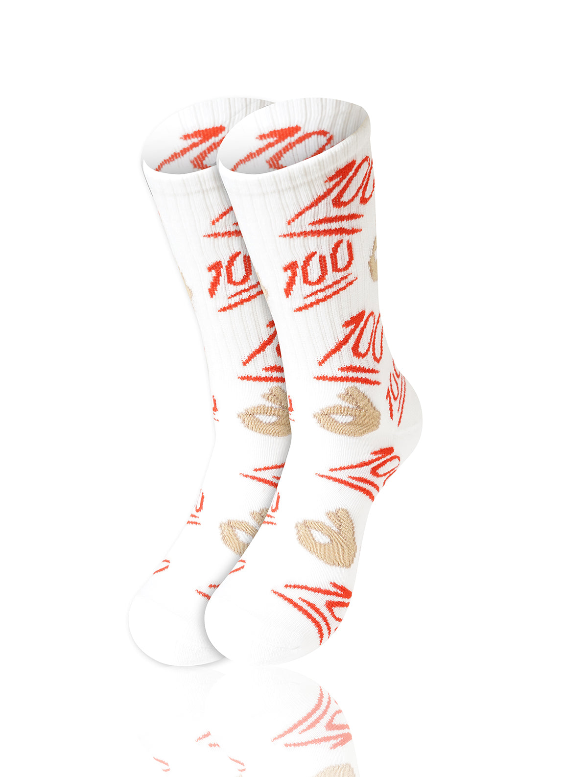 WHITE 100 Emoji Crew Socks - URBANCREWS