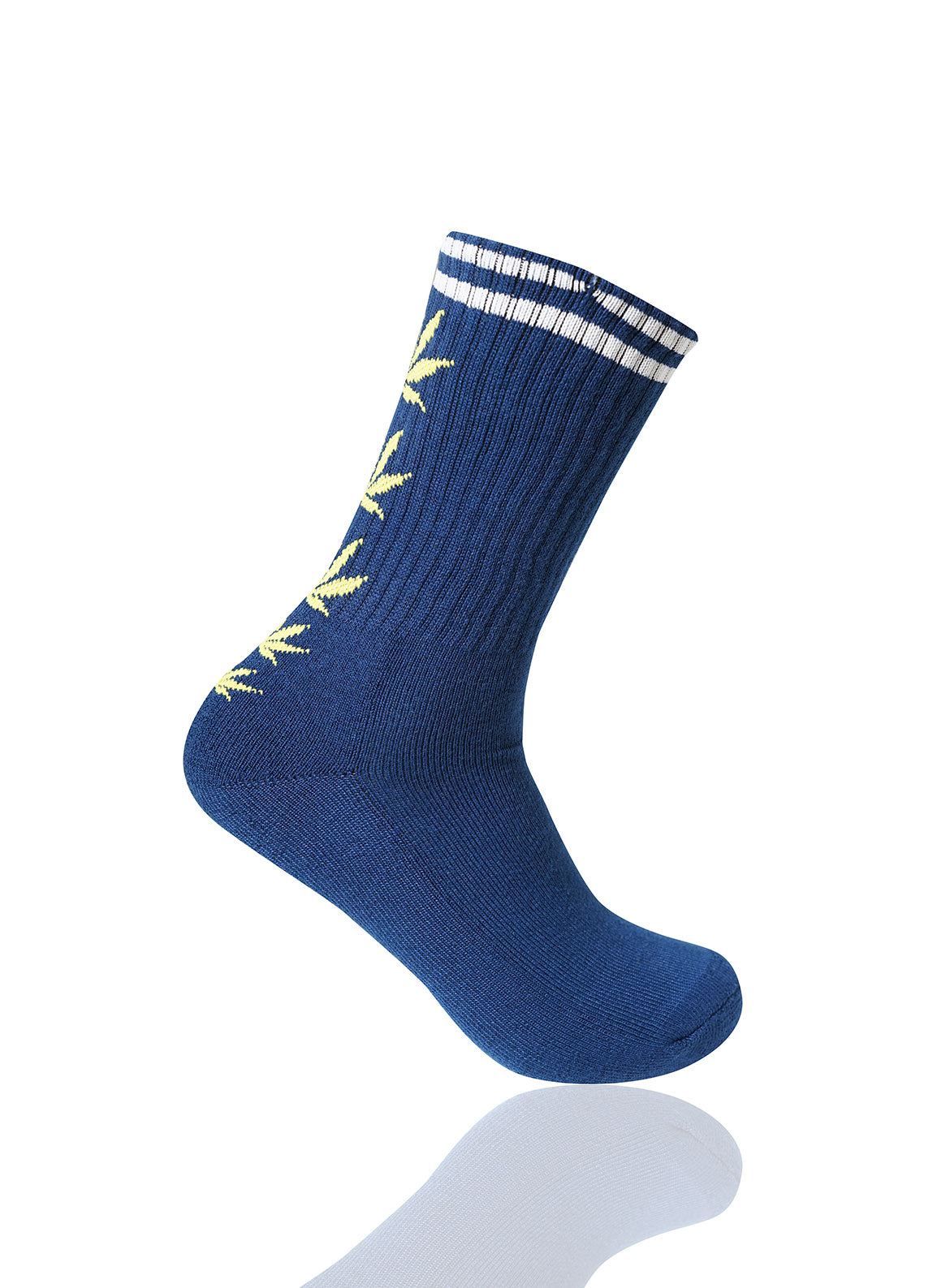 NAVYYELLOW Mad Toro 5 Leaves Graphic Socks - URBANCREWS