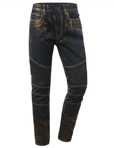 Slim Taper Fit Gold Denim Biker Jeans