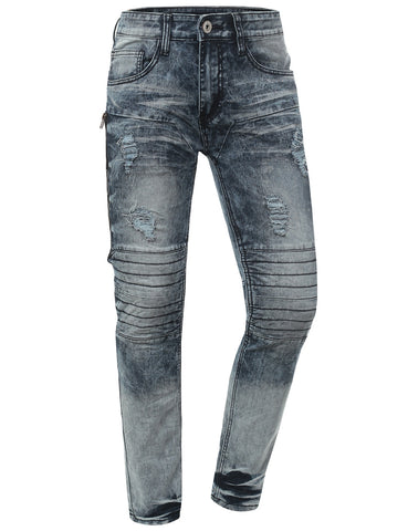Skinny Fit Jeans w/ Zipper Trim