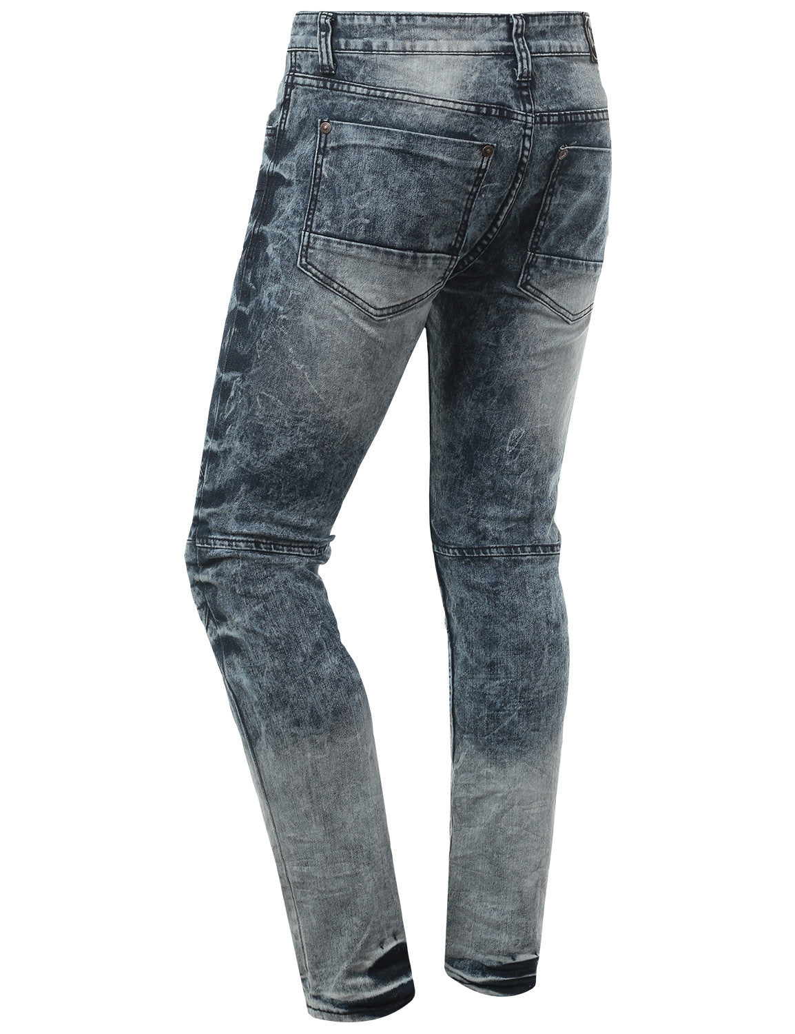 INDIGO Skinny Fit Jeans w/ Zipper Trim - URBANCREWS