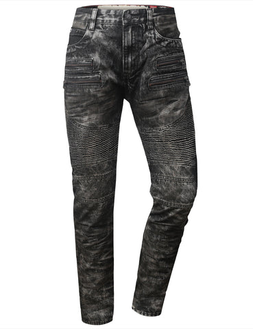 Coated MC Pants W/ Cargo Pocket Ribbed Denim Jeans