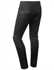 BLACK Coated MC Slim Straight Denim Jeans - URBANCREWS