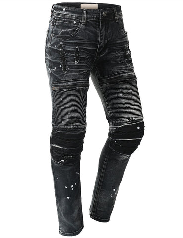 Zippered Moto Denim Skinny Jeans