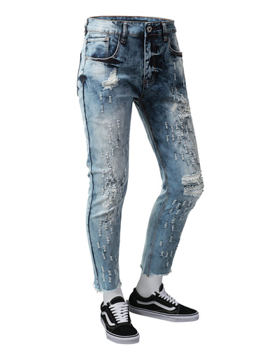 Frayed Hem Ankle Skinny Denim Jeans