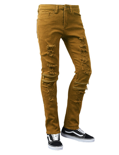 Zipper Accented Distressed Twill Slim Fit Pants