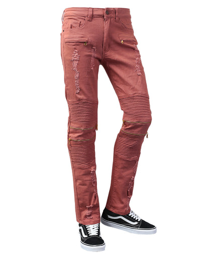 Biker Twill Pants with Zipper Accent & Rip Off