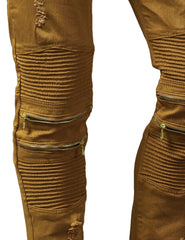 TIMBER Biker Twill Pants with Zipper Accent & Rip Off - URBANCREWS