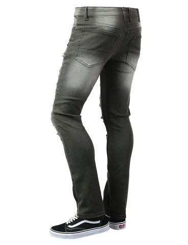 Biker Twill Ripped Accent Slim Fit Pants