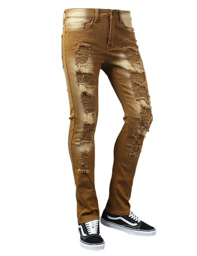 Biker Twill Pants with Ripped Accent