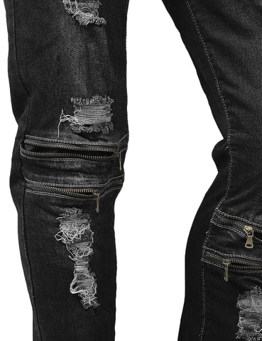 Multiple Distressed Detailed Slim Fit Jeans