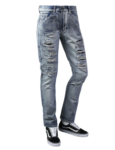 Ripped Taper Fit Denim Jeans