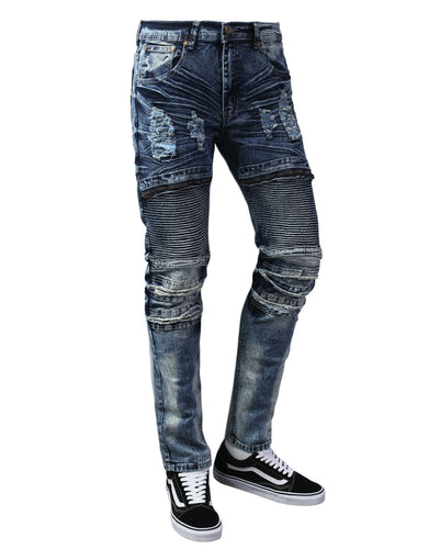 Ripped Moto Skinny Fit Denim Jeans