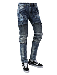 DKINDIGO Ripped Moto Skinny Fit Denim Jeans - URBANCREWS
