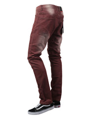 BURGUNDY Basic Color Moto Denim Jeans - URBANCREWS