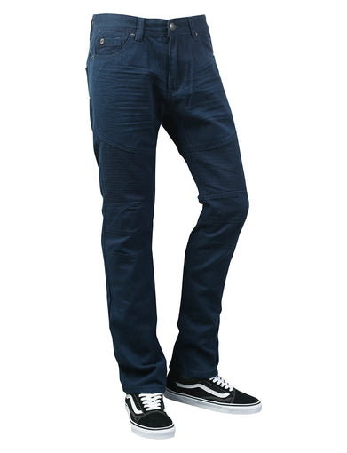 Basic Color Moto Slim Straight Denim Jeans