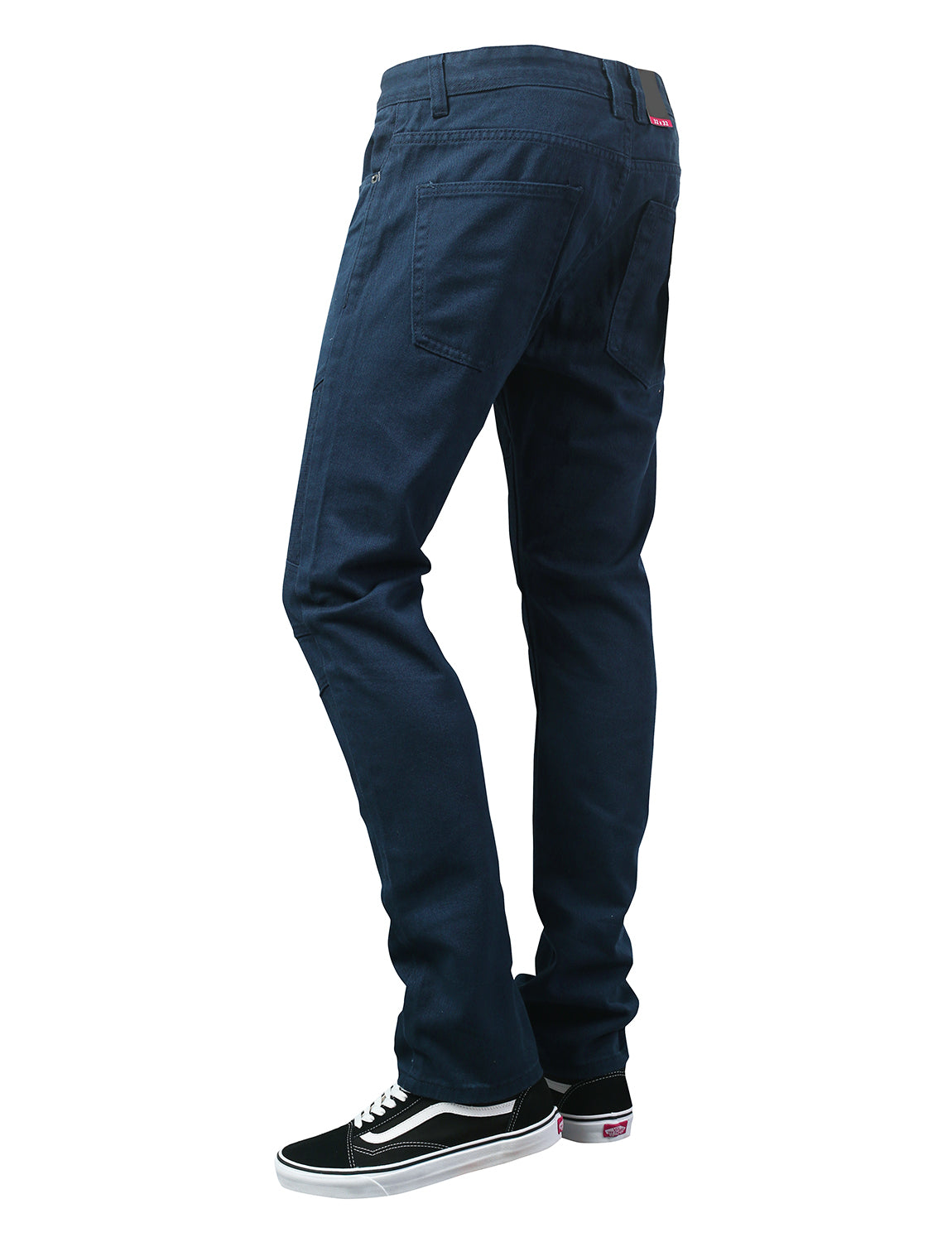 NAVY Basic Color Moto Denim Jeans - URBANCREWS