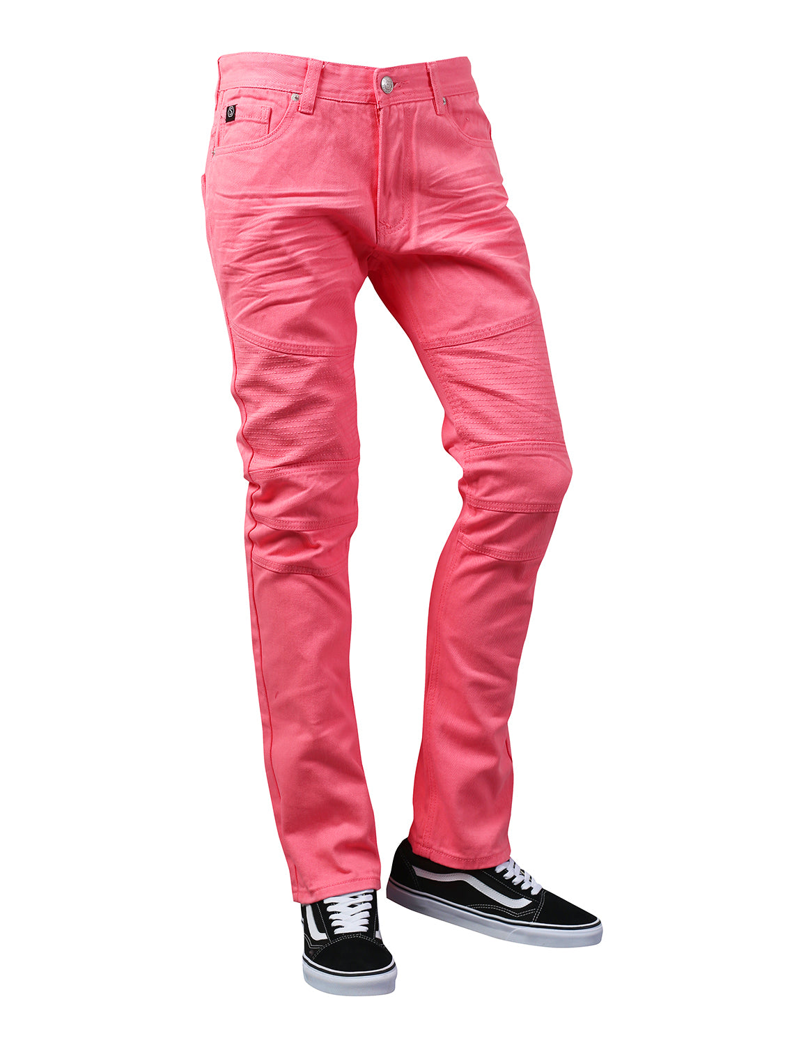 PINK Basic Color Moto Denim Jeans - URBANCREWS