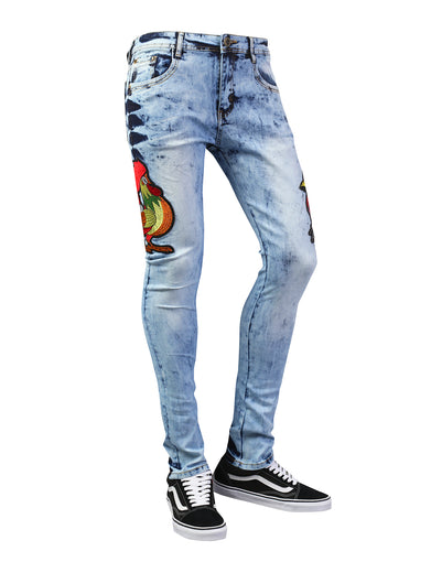 Rooster Patched Graphic Slim Fit Denim Jeans