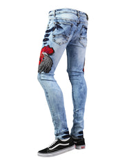 BLUE Rooster Patched Graphic Denim Jeans - URBANCREWS