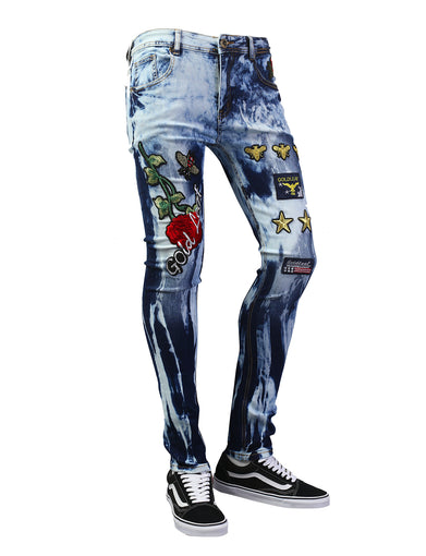 Gold Leaf Patched Slim Fit Denim Jeans