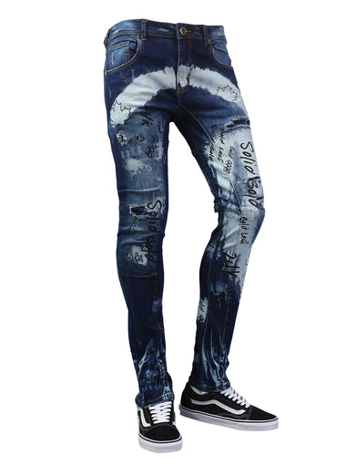 Letter Graphic Ripped Slim Fit Denim Jeans