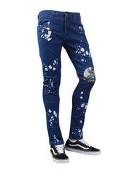 BLUE Spot Bleach Patched Denim Jeans - URBANCREWS
