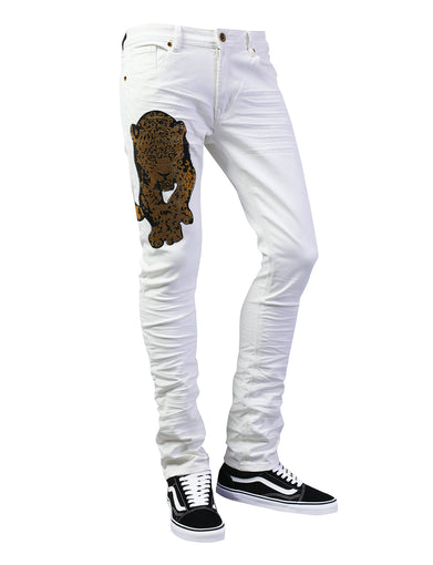 Tiger Rhinestone Graphic Slim Fit Denim Jeans