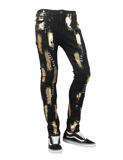 Gold Metallic Ink Slim Fit Denim Jeans
