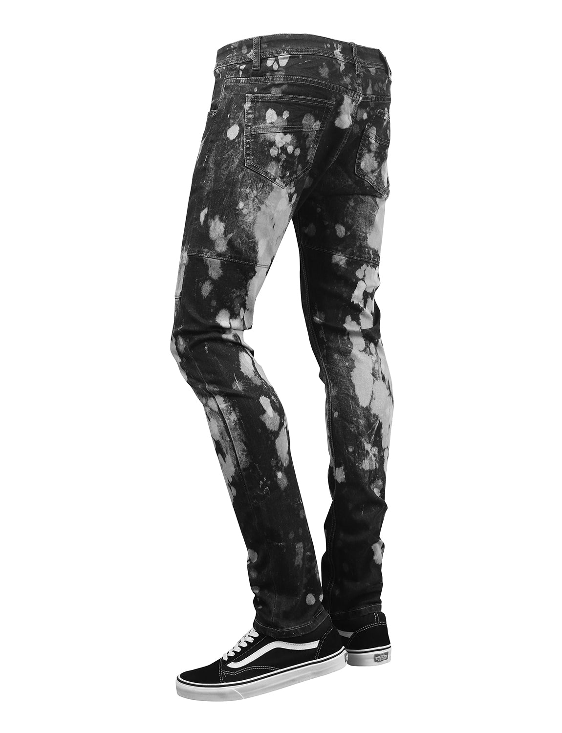 BLACK Spot Faded Denim Jeans - URBANCREWS