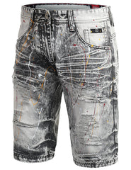 GRAY Multi Color Paint Splashed Denim Shorts - URBANCREWS
