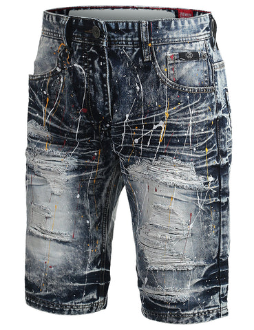 Multi Color Paint Splashed Denim Shorts