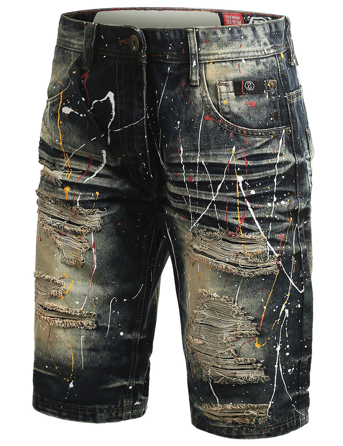 VINTAGE Multi Color Paint Splashed Denim Shorts - URBANCREWS