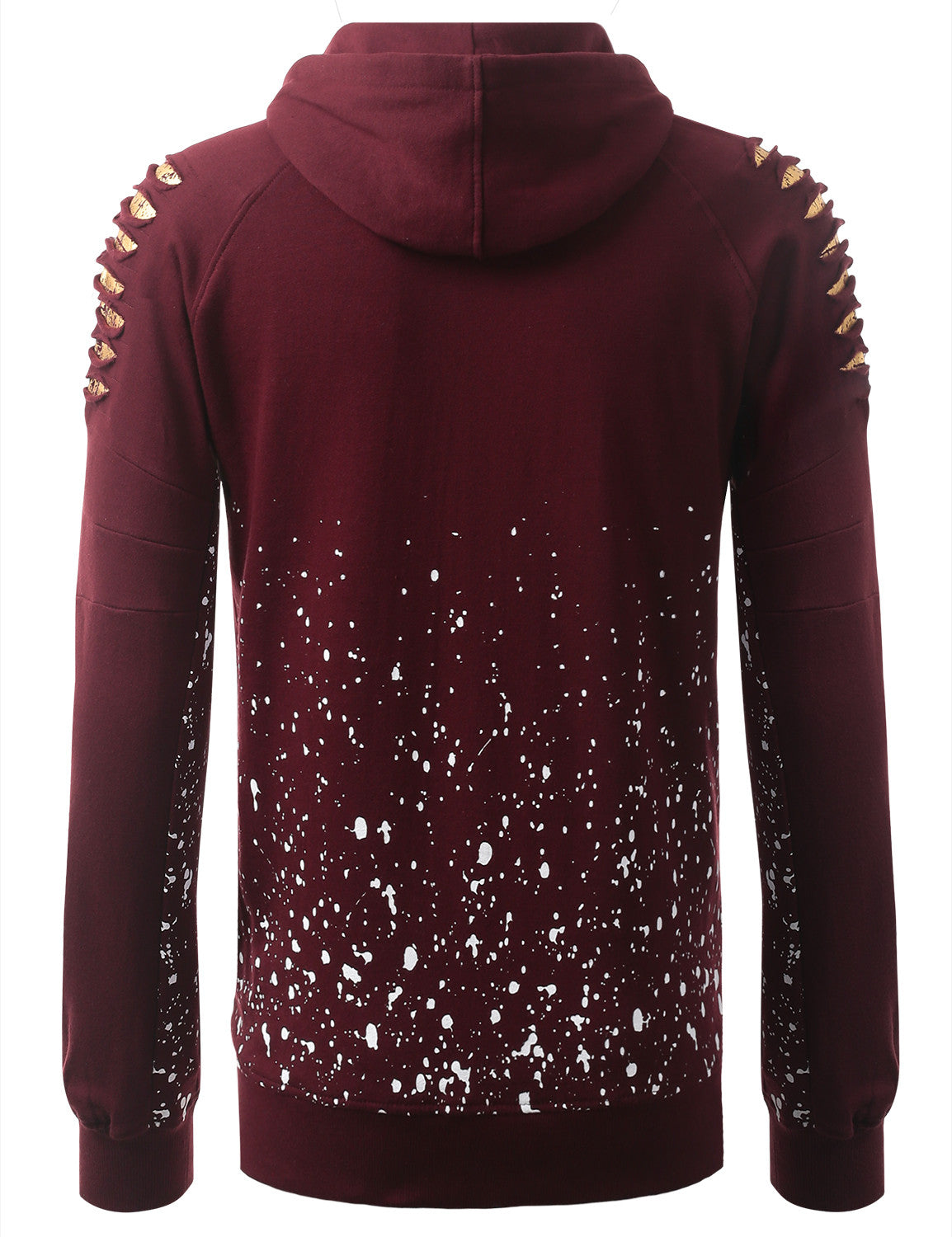 BURGUNDY Bull Splatter Long-Sleeve Hoodie Jackets - URBANCREWS