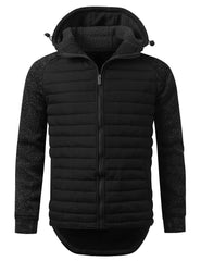 BLACK Quilted Multi Zipper Hoodie Jacket - URBANCREWS