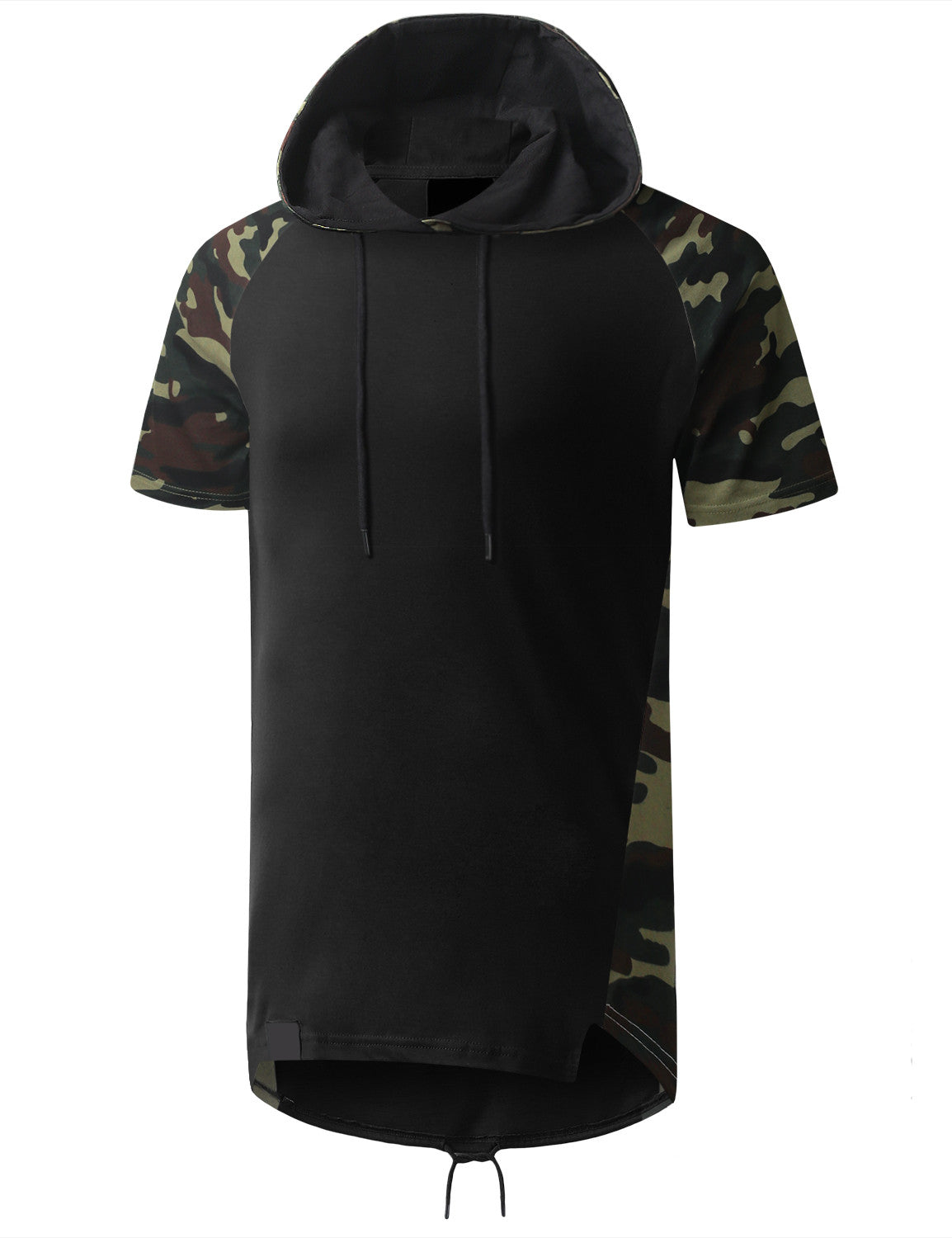 BLACK Camo Printed Short Sleeve Hoodie - URBANCREWS