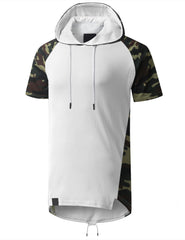 WHITE Camo Printed Short Sleeve Hoodie - URBANCREWS