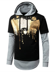 BLACK Paint Splattered Long Sleeve Pullover Hoodie - URBANCREWS