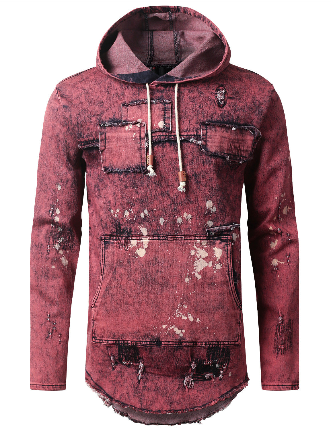 BURGUNDY Denim Patchwork Pullover Long Sleeve Hoodie - URBANCREWS