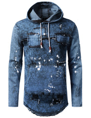 MBLUE Denim Patchwork Pullover Long Sleeve Hoodie - URBANCREWS