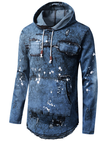 Denim Patchwork Pullover Long Sleeve Hoodie
