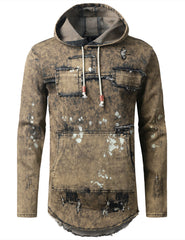 TIMBER Denim Patchwork Pullover Long Sleeve Hoodie - URBANCREWS
