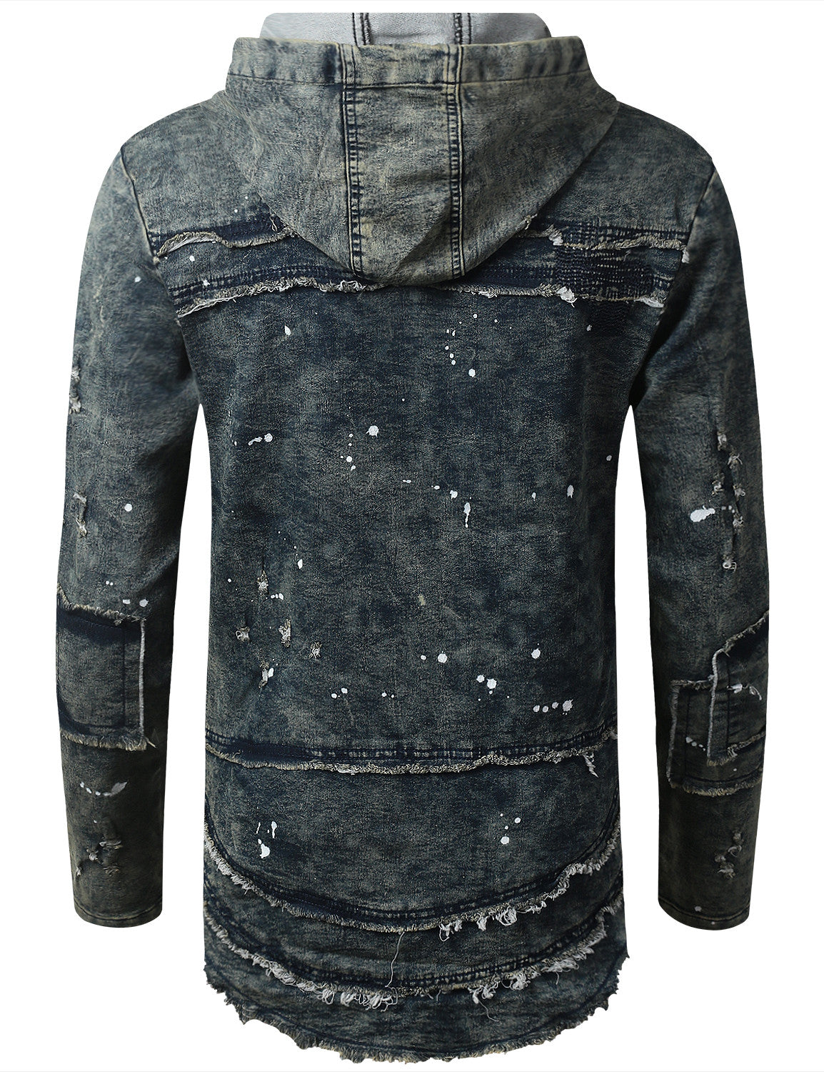 VINTAGE Denim Patchwork Pullover Long Sleeve Hoodie - URBANCREWS