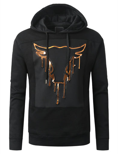Embossed Bull Graphic Fleece Pullover Hoodie