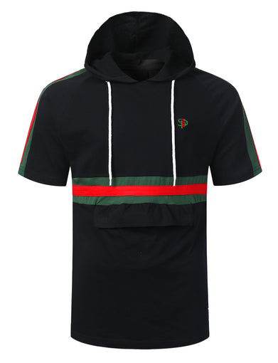 Stripe Taped Short Sleeve Hoodie