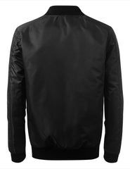 BLACK Basic Bomber Flight Jacket w/ Zippers - URBANCREWS