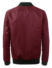 BURGUNDY Basic Bomber Flight Jacket w/ Zippers - URBANCREWS