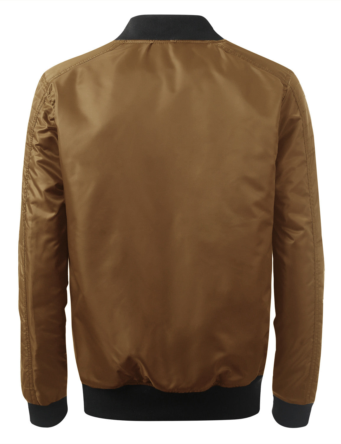 CARAMEL Basic Bomber Flight Jacket w/ Zippers - URBANCREWS